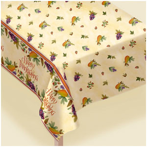 Thanksgiving Medley Vinyl Tablecover- 90 Inch