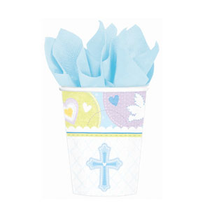 Sweet Christening Blue 9 oz. Cups- 8ct