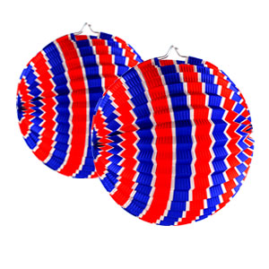 Patriotic Stripes 9 Inch Round Lanterns