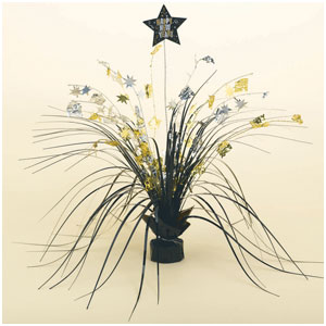 Happy New Year Spray Centerpiece - Black, Gold & Silver 15 Inch