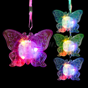 LED Jelly Butterfly Necklaces - Assorted