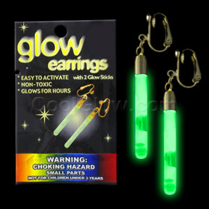 Glow Pendant Earrings - Green