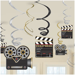Hollywood Swirl Decorations- 12ct