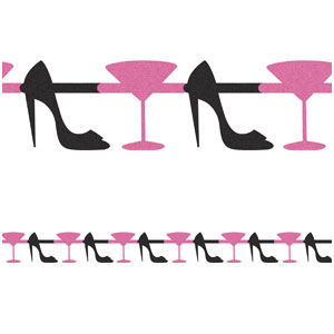Martini and Heels 12 ft. Ribbon Garland
