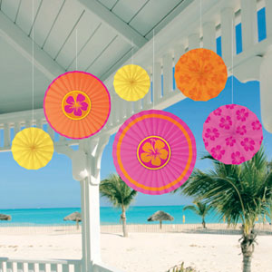 Warm Paper Fan Decorations- 6ct