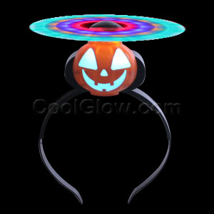 LED Spinning Windmill Headband - Pumpkin