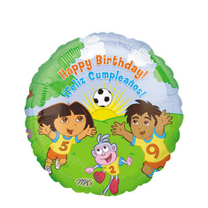 Dora and Diego Happy Birthday Balloon- 18 Inch