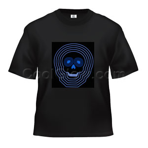 LED Sound Activated T-Shirt - Blue Skull