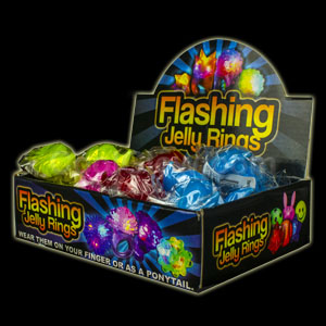 LED Jelly Mustache Rings - Assorted