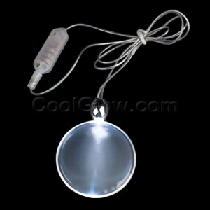 LED Circle Pendant Necklace - White