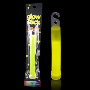 6 Inch Retail Packaged Glow Stick - Yellow