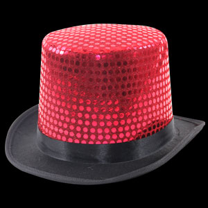Sequin Top Hats - Red