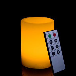 4 Inch Flameless Remote Control Pillar Candle - Smooth Edge - Yellow