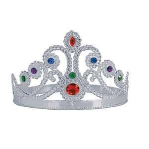 Plastic Jeweled Queen Tiara - Silver