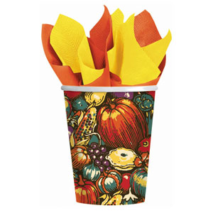 Autumn Turkey 9 oz. Cups- 8ct