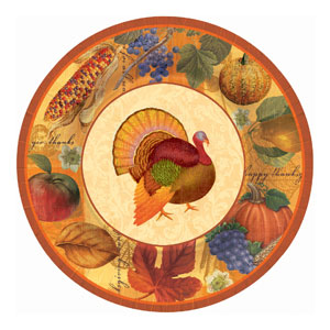 Thanksgiving Scrapbook 10 Inch Plates- 8ct