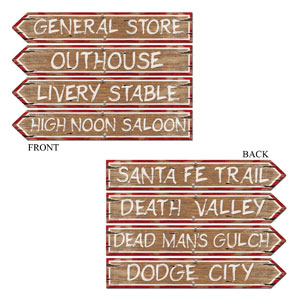 Wooden Western Sign Cutouts- 4pc