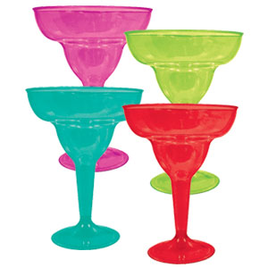 Assorted Color 10 Ounce Margarita Glasses- 20ct