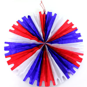Patriotic Star Paper Fan - 20 Inch