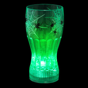 LED Halloween Cup - 12 oz. Green Spiders