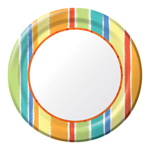 Sunshine Stripes 9 Inch Plates- 8ct