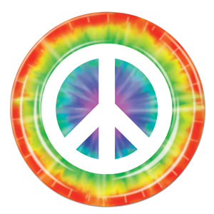 Peace Sign Plates - 9in 8ct