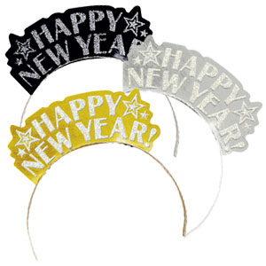 Happy New Year Tiaras- Gold, Silver & Black 7 Inch 12ct