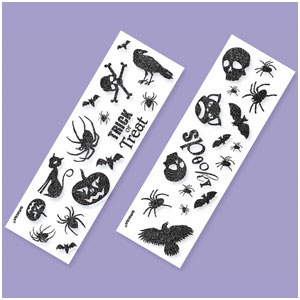 Glitter Halloween Stickers- 6ct
