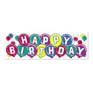 Happy Birthday Sign Banner - 5ft x 21in