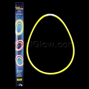 22 Inch Retail Packaged Glow Necklaces - Yellow