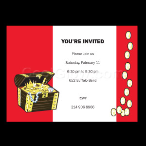 Treasure Chest Red - Custom Invitations