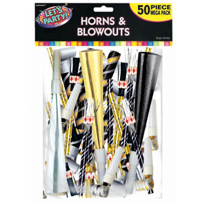 Horns & Blowouts Mega Pack- Black Gold & Silver 50ct