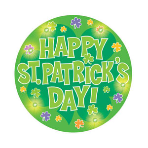 Happy St. Patrick's Day Flashing Button