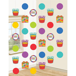 Happy Birthday Dots and Stripes 7 Foot String Decorations- 6ct
