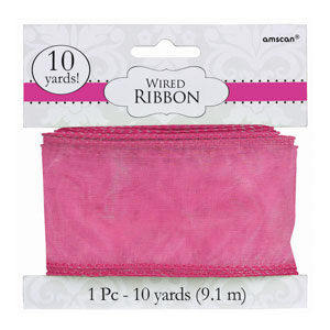 Bright Pink Wired Ribbon- 30ft