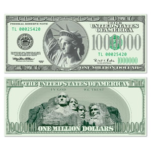 Big Bucks Cutout Million Dollar Bill Cutout- 17in