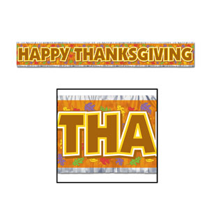 Metallic Happy Thanksgiving Fringe Banner - 5ft