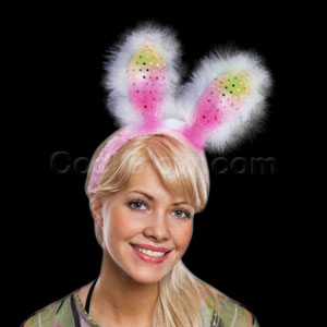 Fun Central R60 LED Light Up Bunny Ears Supreme - Pink