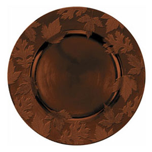 Brown Round Embossed Charger- 14 Inch