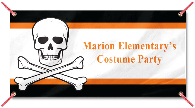 Halloween Skull and Crossbones- Custom Banner