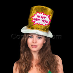 LED New Years Fiber Optic Hat