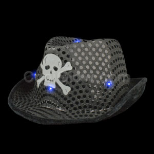 Fun Central AI324 LED Light Up Skull Sequin Fedora