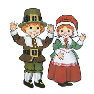 Jointed Pilgrim Boy and Girl Cutouts- 25 inches