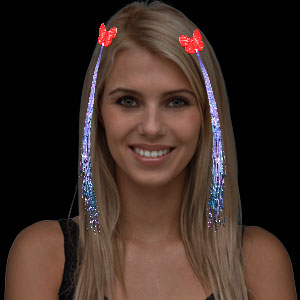 LED Fiber Optic Hair Clips - Red