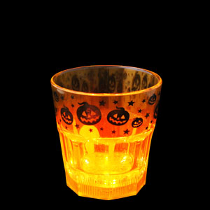 LED Halloween Rocks Glass - 8 oz. Orange Pumpkins