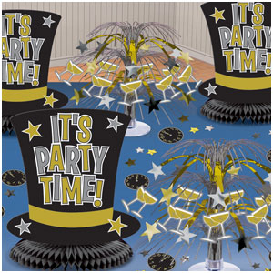New Years Table Decorating Kit- Black, Silver & Gold 11pc