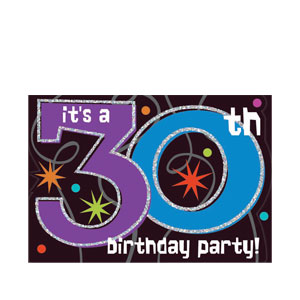 The Party Continues-30 Prismatic Invitations- 8ct