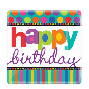 Birthday Dots and Stripes 10 Inch Square Plates- 8ct