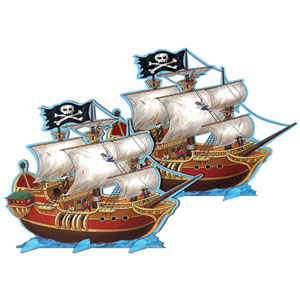 Pirate Ships Centerpiece - 14in