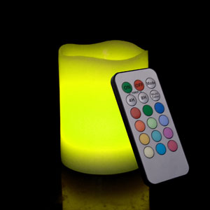 4 Inch Flameless Remote Control Pillar Candle - Smooth Edge - Multicolor